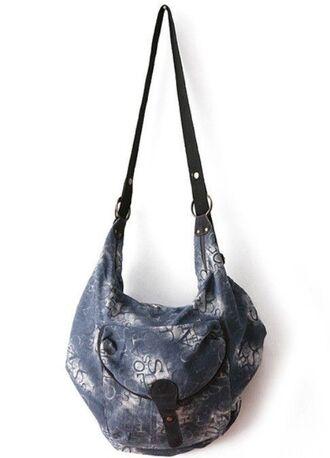 bag blue purse blue bag letter print bag satchel bag blue satchel adjustable straps www.ustrendy.com