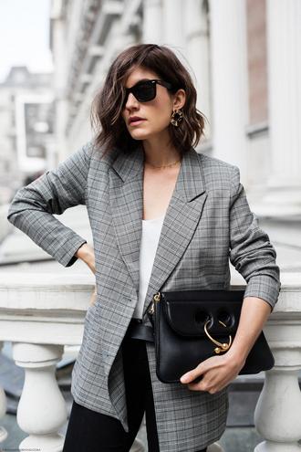 jacket blazer check blazer plaid plaid blazer grey blazer bag black bag sunglasses top white top