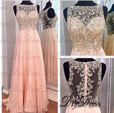 Line high neck beaded bodice blush chiffon prom dresses long formal party dresses apd1282 · diydressonline · online store powered by storenvy