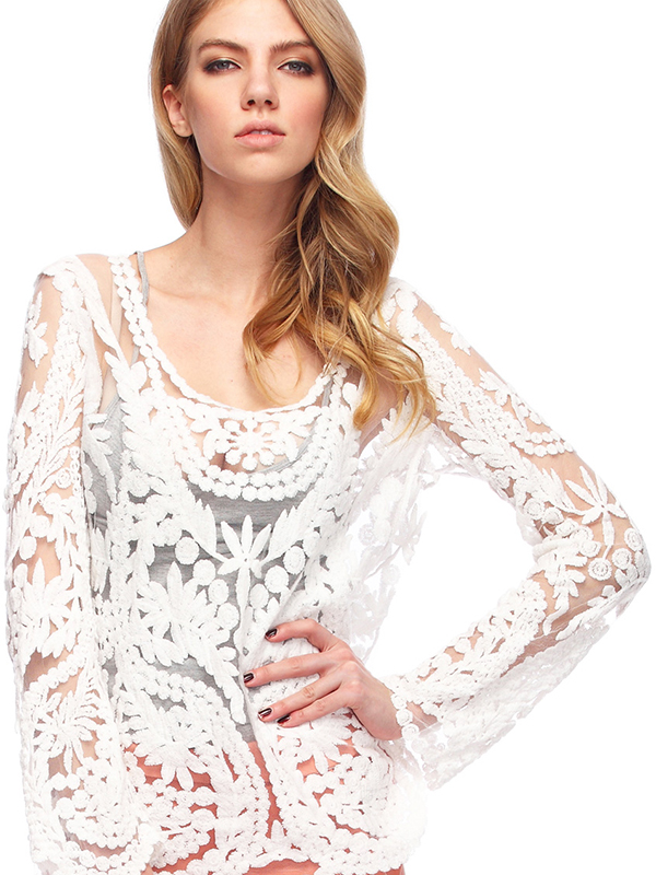 White Hollow-out Lace Crochet Sexy T-Shirt : KissChic.com