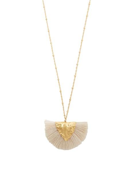 ELISE TSIKIS tassel necklace pendant white jewels