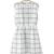 Grids Printing A-line White Organza Sleeveless Dress