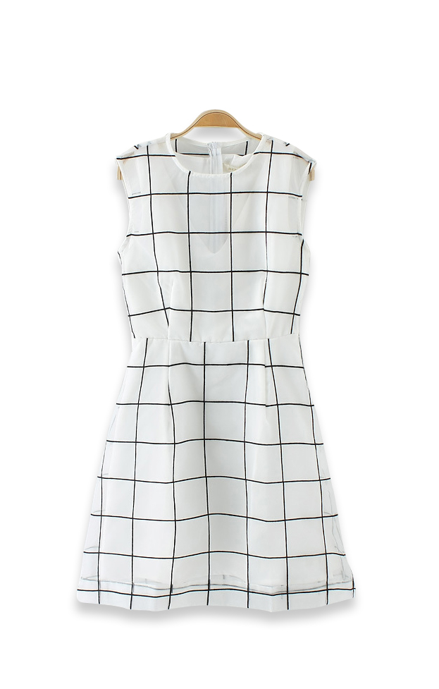 Grids Printing A-line White Organza Sleeveless Dress