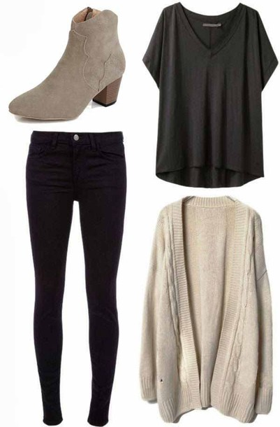 jeans cardigan loose tshirt black skinny jeans ankle boots t-shirt