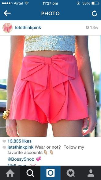 shorts pink shorts bow