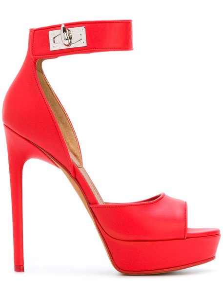 Givenchy women shark sandals leather red shoes