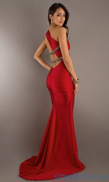 dress red long prom dress long prom dress red dress long red dress beautiful red dress one shoulder sparkle