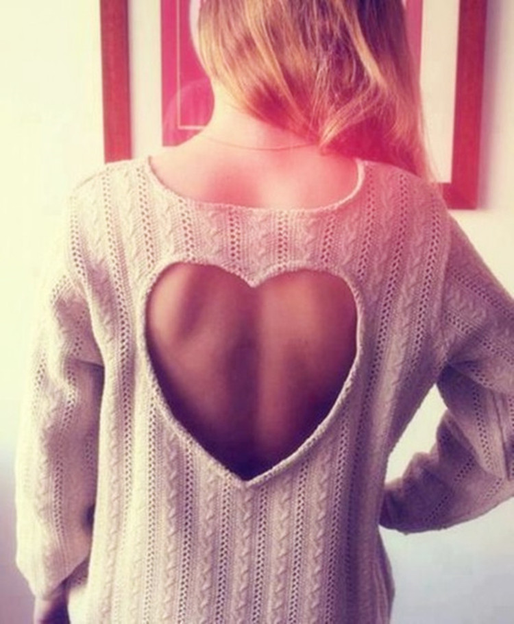 Cute heart hollow out sweater