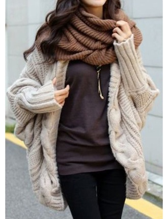 cardigan beige cream pretty warm wooly winter pretty oversized sweater korean fashion asian fashion chic oversized cardigan