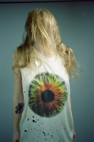 shirt t-shirt tumblr grunge alternative eyes ripped blouse eye sleeveless color/pattern cool blonde chick punk indie rosy hipster tank top top print whites blue colorful nature body human fashion style hippie