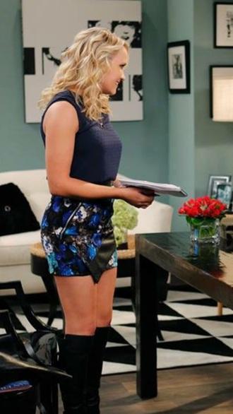 skirt emily osment blue skirt floral skirt