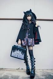 coat,shoes,goth,gothic lolita,gothic dress,black dress,black,platform shoes,boots,demon,demonia,restyle occult backpack,bag,japan,fashion,cute,devil,japanese fashion,tights,rude,dress,skirt,hearts tights