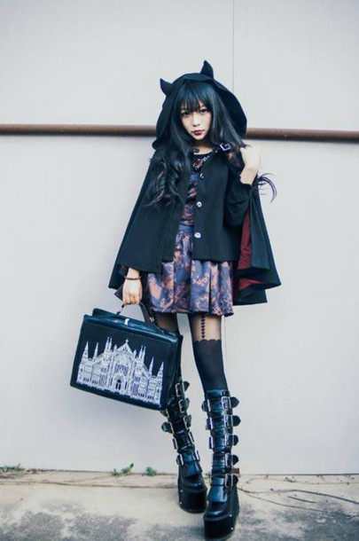 Coat Shoes Goth Gothic Lolita Gothic Dress Black