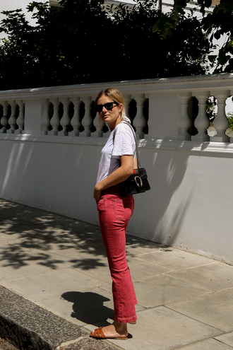 jeans shoes bag sunglasses tumblr red jeans t-shirt white t-shirts white t-shirt slide shoes