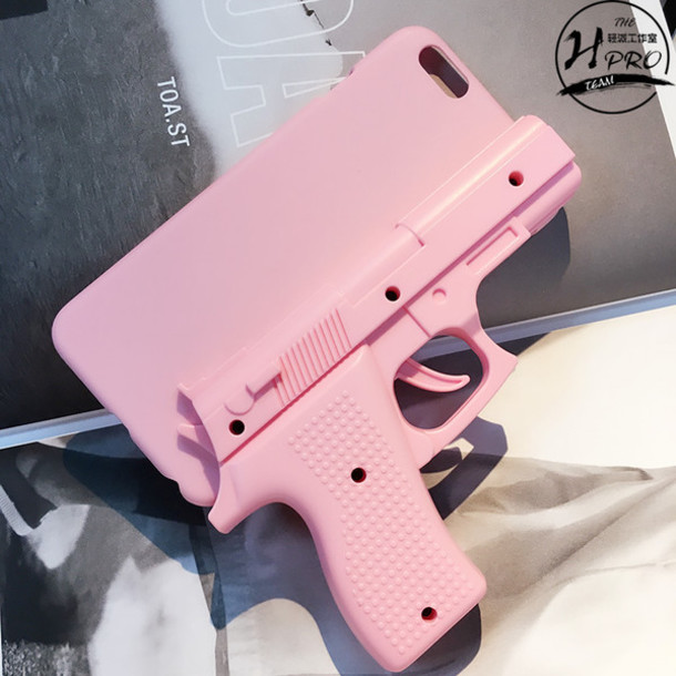 Phone cover: hand gun, pistol, pink, iphone cover, iphone ...
