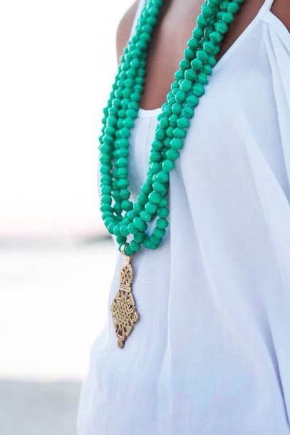 jewels turquoise green necklace long beads green multi strand