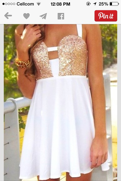 gold sequins white dress