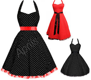 Rockabilly 1950's vintage pin up swing polka dot evening dress sizes 8 22