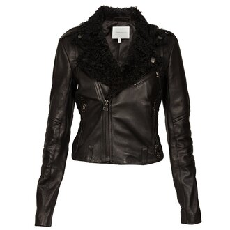 jacket leather jacket clothes fur fur coat top zips
