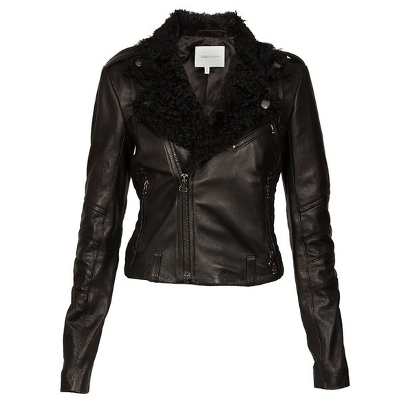 jacket fur leather jacket clothes fur coat top zips
