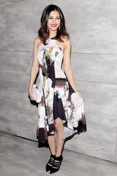dress,victoria justice,pumps,floral,midi skirt,high low dress,fashion week 2015,bag,clutch,shoes