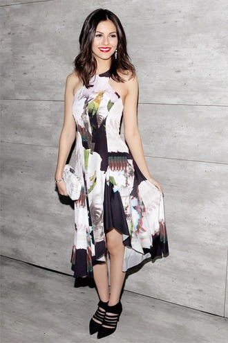dress victoria justice pumps floral midi skirt high low dress fashion week 2015 bag clutch shoes