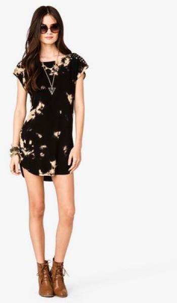 Forever 21 black studded shoulder bleached dress