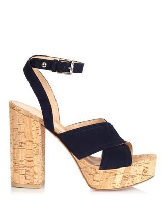 sandals platform sandals suede navy shoes