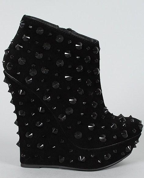 BLACK LARGE SPIKE PLATFORM WEDGE HEELS BOOTIES NEW IN BOX! HOT! | eBay