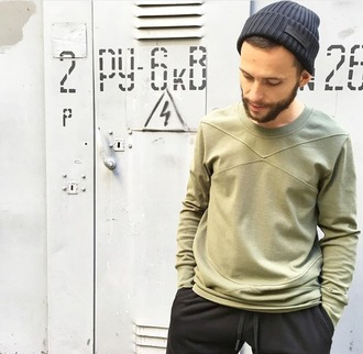 sweater khaki long sleeves cross menswear mens sweater urban urban outfitters streetstyle streetwear basic the essentials fall outfits