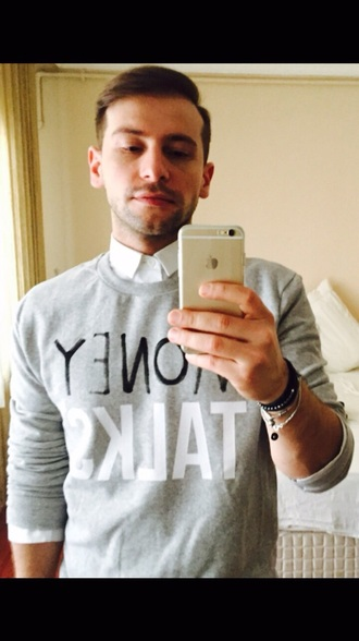 top bad boy grey sweater grey white letters iphone 6 mens sweater