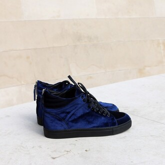 shoes maniere de voir virtue velvet deep blue trainers sneakers