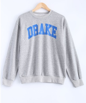 sweater grey blue drake drake clothing drake sweater crewneck