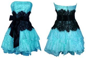 dress black belt blue ruffle details lace ribbon short dress prom prom dress trendy hot black lace neon blue