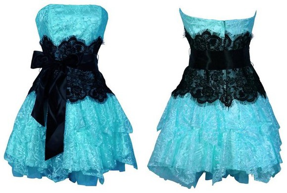 dress details black belt blue ruffles lace ribbon short dress prom prom dress trending hot black lace neon blue