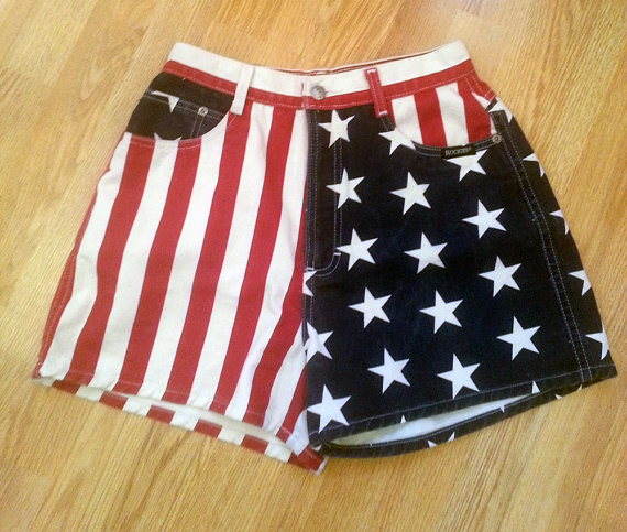 80s Rockies American Flag High Waisted Denim by DalixStudios