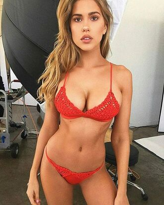 swimwear red bikini crochet ootd summer frankies bikini