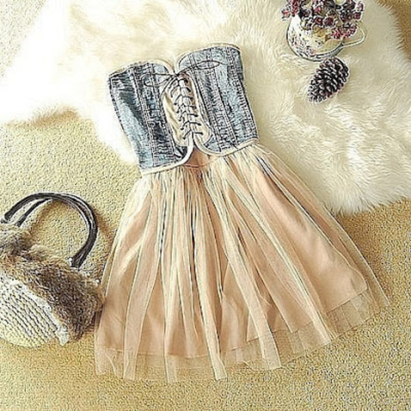 dress pink tulle short dress denim cute girly summer lace up front casual blue