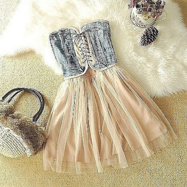 dress denim cute girly summer tulle skirt lace up front short dress casual pink blue