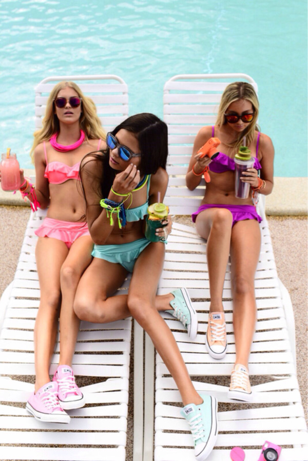 swimwear pink blue purple bikini top bottom