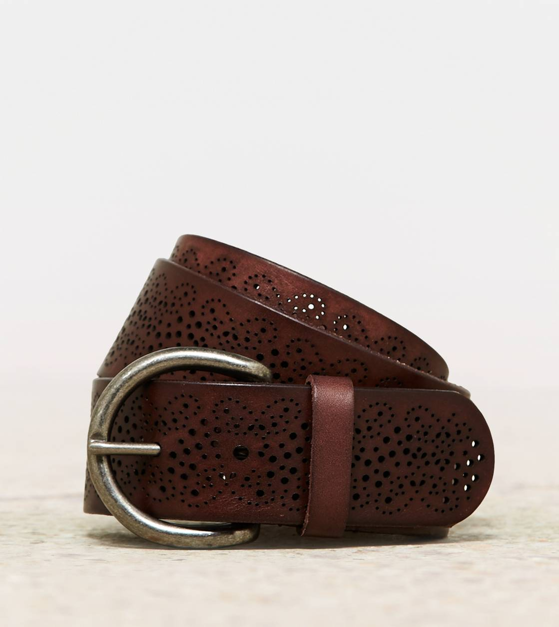 AEO Perforated Leather Belt, Brown | American Eagle Outfitters