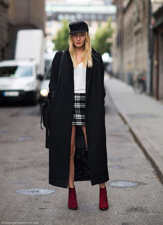 coat black cap white shirt black coat checkered short skirt burgundy boots blogger
