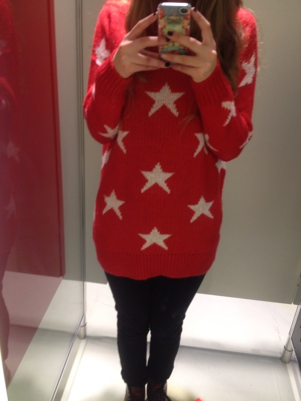 Red White Five Pointed Star Pullover Sweater @ Sweaters,Womens ...