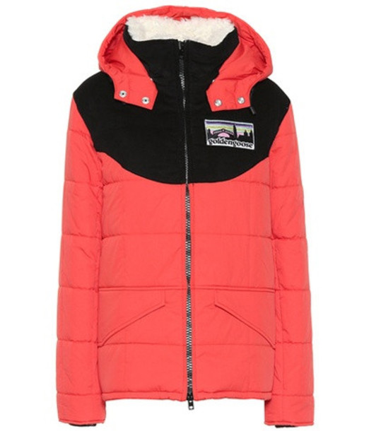 Golden Goose Deluxe Brand Fur-trimmed hooded jacket in red