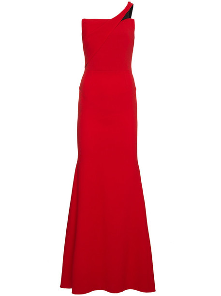 Roland Mouret gown women spandex silk wool red dress