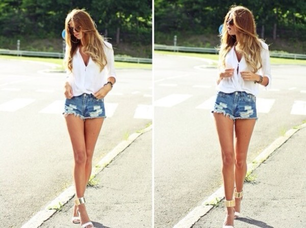 shoes high heels shorts shirt sandals