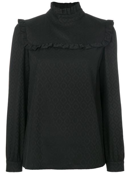 A.P.C. blouse ruffle women spandex black pattern top