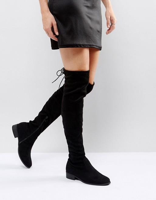 Public Desire Elle black flat over the knee boot at asos.com