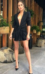 dress,little black dress,black dress,plunge v neck,plunge dress,olivia culpo,instagram,mini dress,pumps