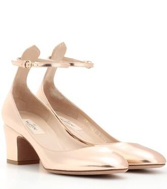 tan pumps leather metallic shoes